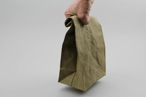 Waxed Brown Bag - Moss Green